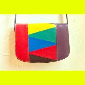 Vintage 80s rainbow leather color block purse